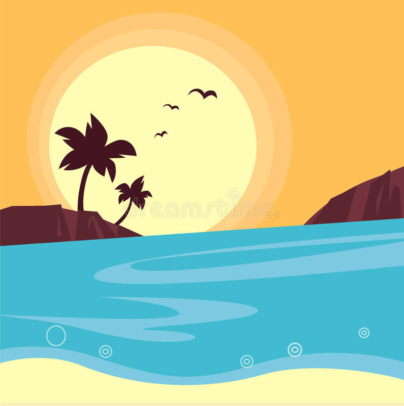 Summer & Travel: Silhouette Of Beach Sunset Stock Photography