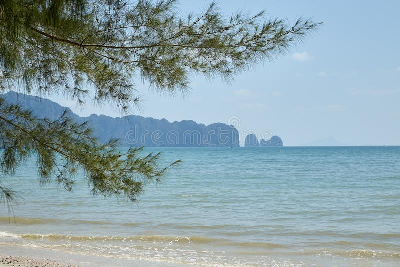 Summer travel in the Thai sea. Krabi, Thailand Holiday in Thailand - Beautiful Island of Krabi with Sandy Beaches royalty free stock photo