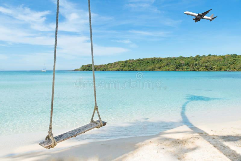 Summer, Travel, Vacation and Holiday concept - Airplane arriving stock images
