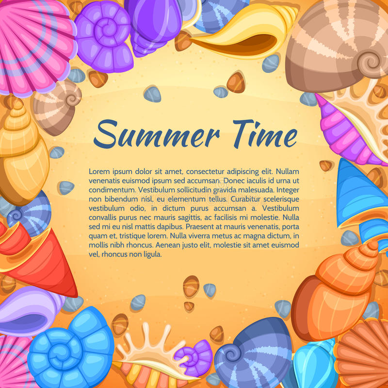 Summer travel vector card with cartoon sea shell border vector illustration