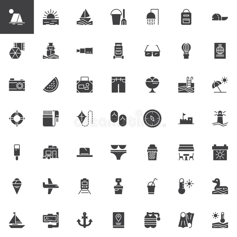 Summer and travel vector icons set vector illustration