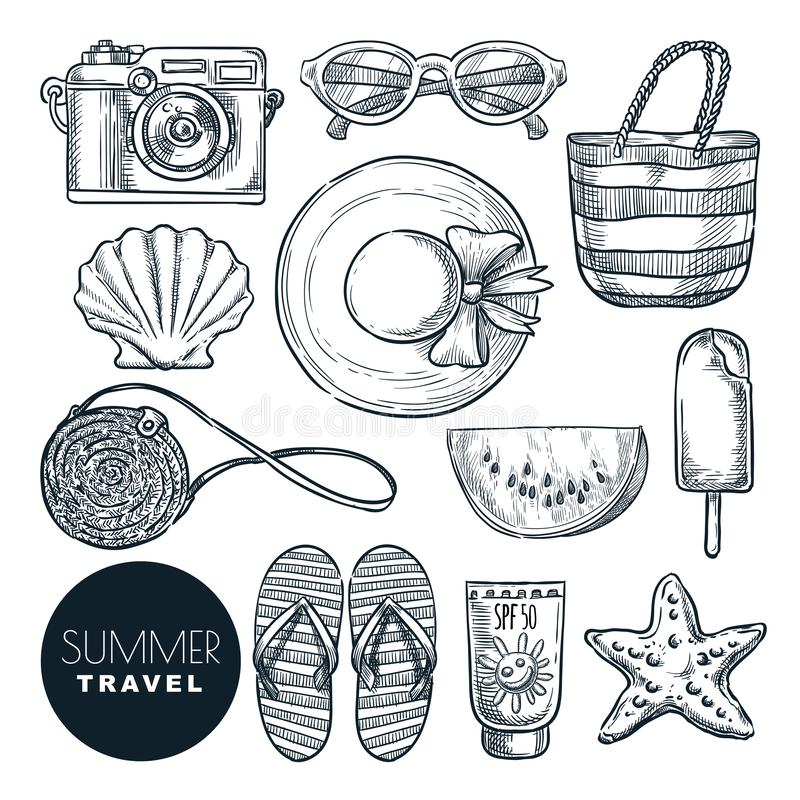 Summer travel, vector sketch illustration. Hand drawn fashion accessories for beach vacation. Design elements set stock illustration