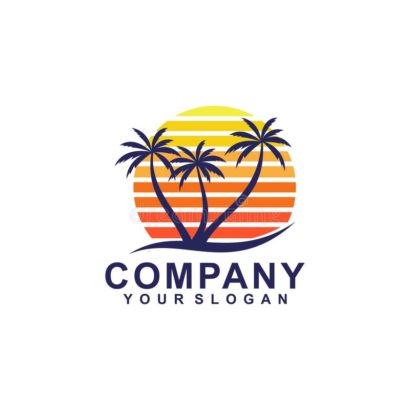 summer tree palm logo icon vector template vector illustration