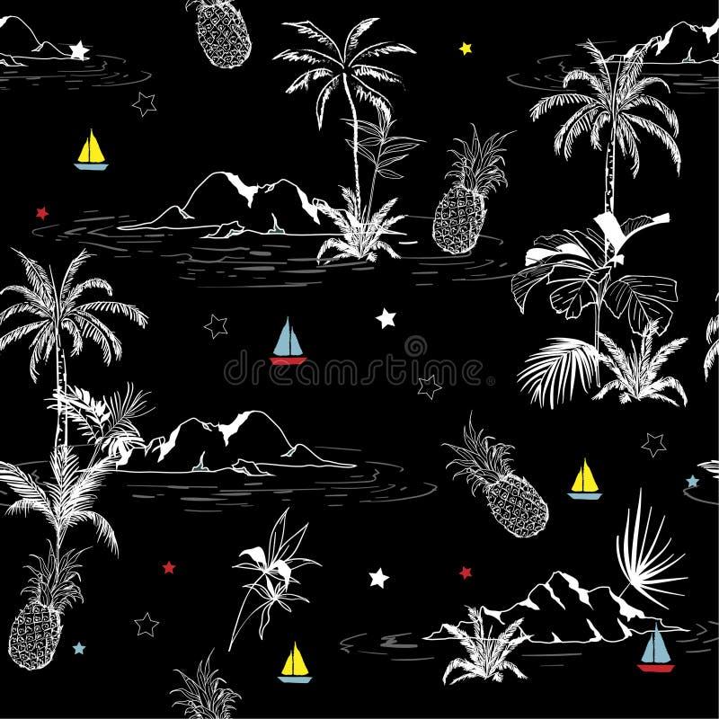 Summer Trendy dark seamless outline island pattern on black bac royalty free illustration