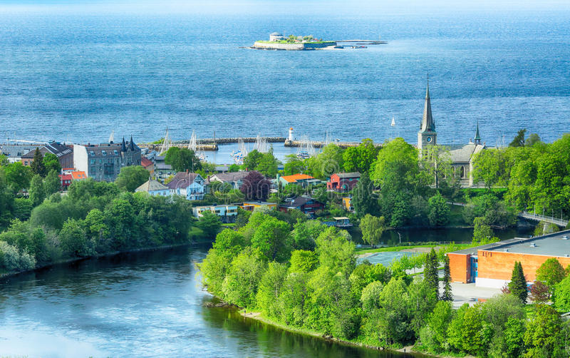 Summer in trondheim, Norway. Summer in the norwegian city Trondheim. Aerial view of the Trondheim fjord, the island Munkenholmen, The river Nidelva and Ila stock image