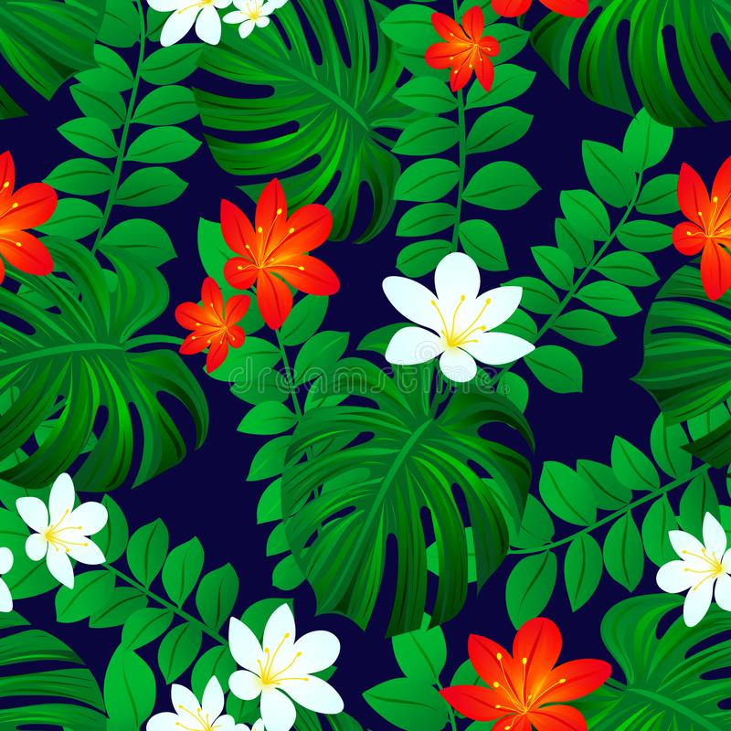 Summer tropic background. Tropical seamless pattern. Exotic leaves repeated texture. Vector card. Colored floral wallpaper with tr stock illustration