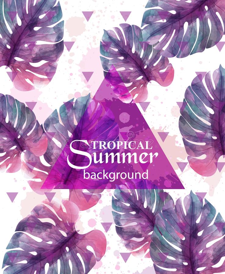 Free Summer Tropic Palm Leaves Vector. Exotic Hot Background Illustrations Royalty Free Stock Photography - 120280097