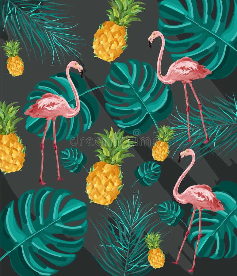 Summer tropic pattern Vector. Flamingo and green palm leaves decor textures vector illustration