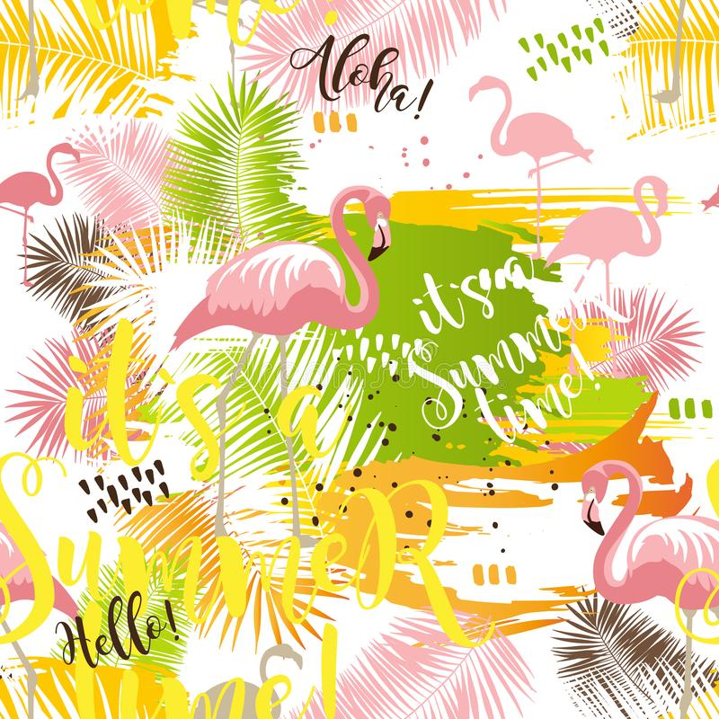 Summer tropical seamless abstract pattern with palm leaves and flamingo stock illustration