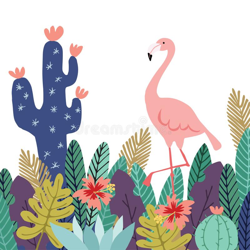 Summer tropical background, banner. Flamingo bird with cactuses, succulent plants, palm leaves and flowers. Stock vector royalty free illustration