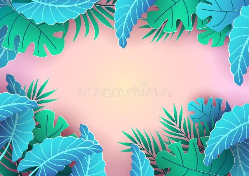 Summer tropical background design. Pink background and leaves for sale banner, poster or voucher discount. Summer vector stock illustration