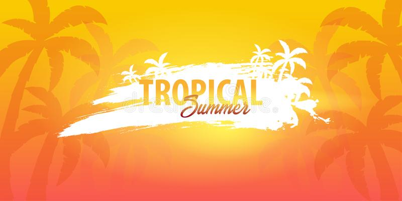 Summer tropical background with palms and sunset. Summer placard poster flyer invitation card. Summer time. Vector Illustration. stock illustration