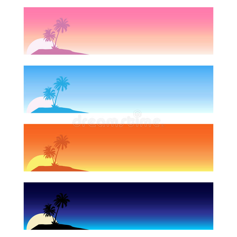Summer tropical banners royalty free illustration