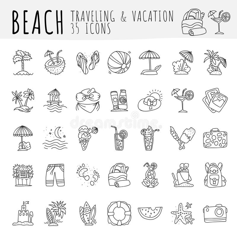 Summer tropical beach icon collection. Hand draw icons about travel to tropic beach and have vacation. Summer and beach stock illustration