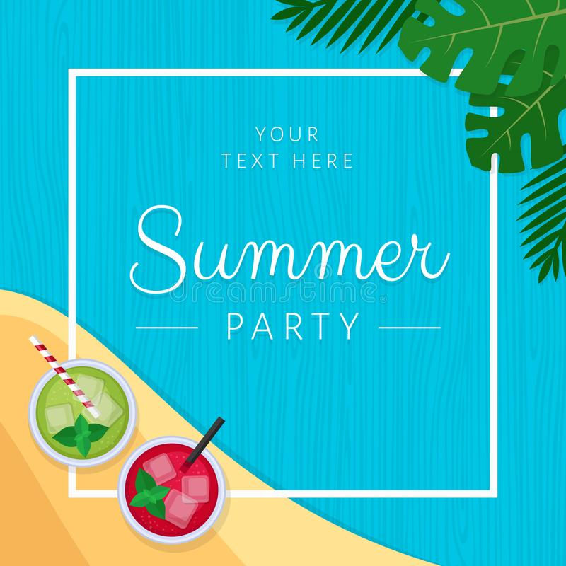 Summer tropical cocktail with palm leaves. Cocktail party poster stock illustration