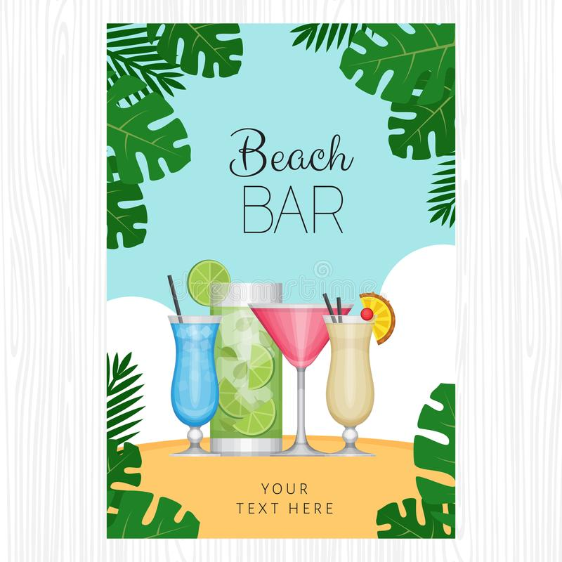 Summer tropical cocktail with palm leaves. Cocktail party poster. Or invitation to beach party. Flat style, vector illustration royalty free illustration