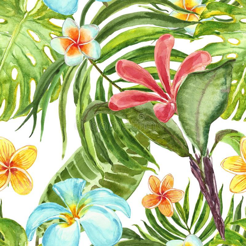 Summer tropical floral print. Watercolor seamless pattern with exotic plants, flowers and leaves. Green palm leaf, monstera, stock illustration
