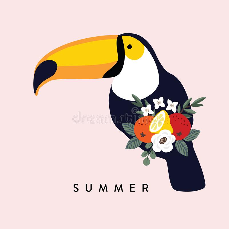 Summer tropical greeting card, invitation.Toucan bird with olive, eucalyptus leaves, oranges, lemon fruit and flowers. Vector illustration background. Flat vector illustration