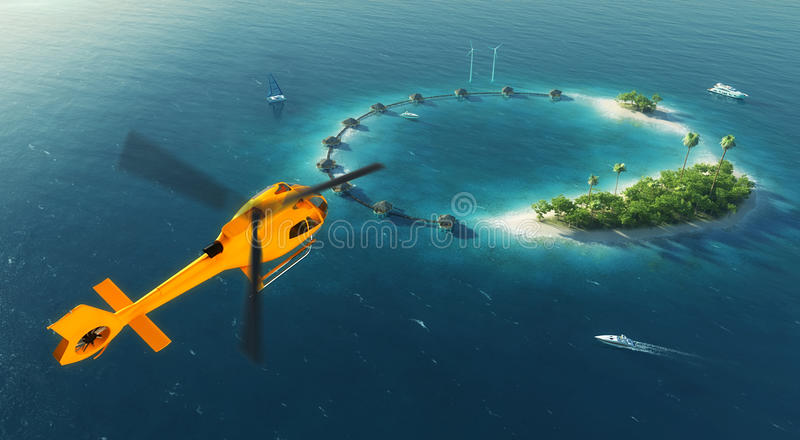 Summer tropical island. Small helicopter flying to private paradise tropical island with wind turbines energy and bungalows royalty free illustration
