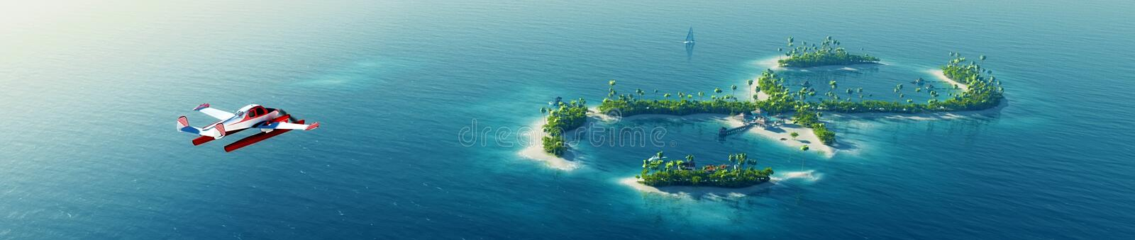 Summer tropical island. Small sea airplane flying to private paradise tropical island in the form of infinity sign royalty free illustration