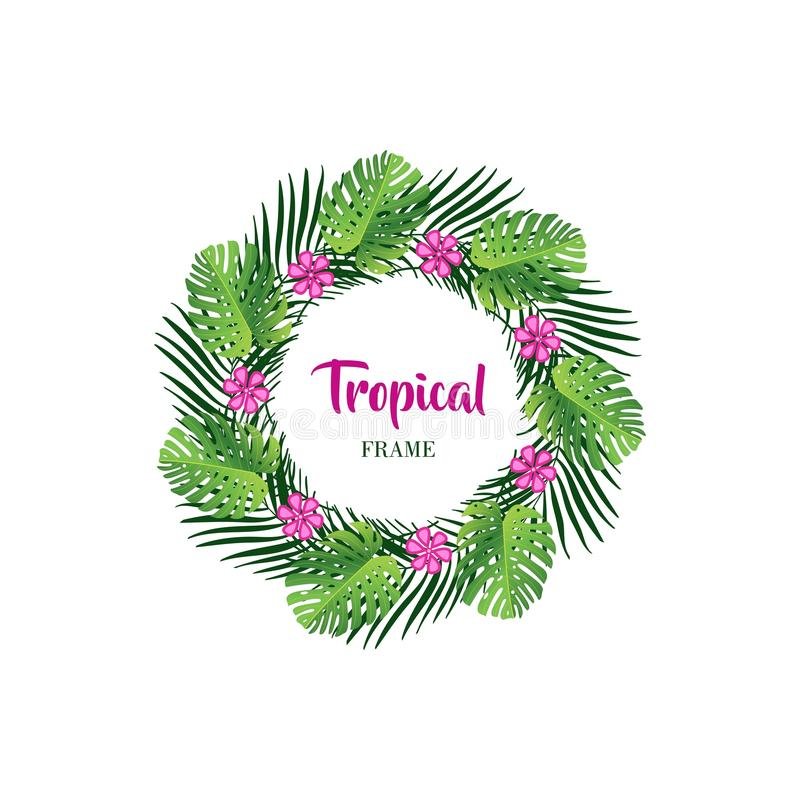 Summer tropical leaf background with exotic palm leaves. The background of tropical summer leaves with exotic palm leaves and looks beautiful with bright colors royalty free illustration