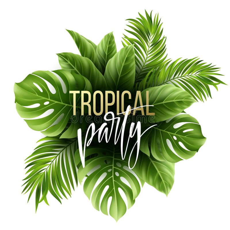 Summer tropical leaf background with exotic palm leaves. Party flyer template. Handwriting lettering. Vector. Illustration EPS10 vector illustration