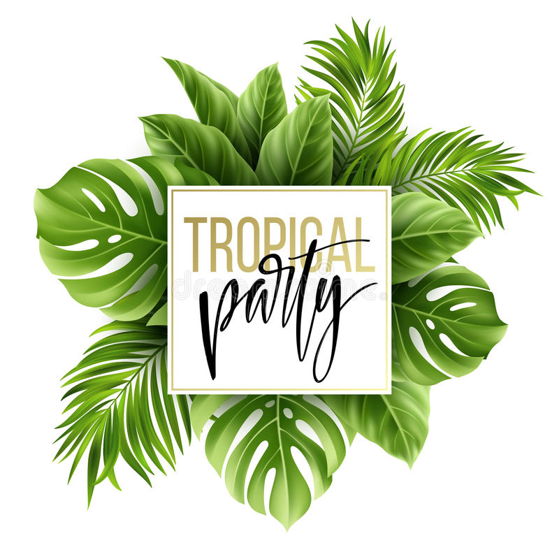 Summer tropical leaf background with exotic palm leaves. Party flyer template. Handwriting lettering. Vector vector illustration