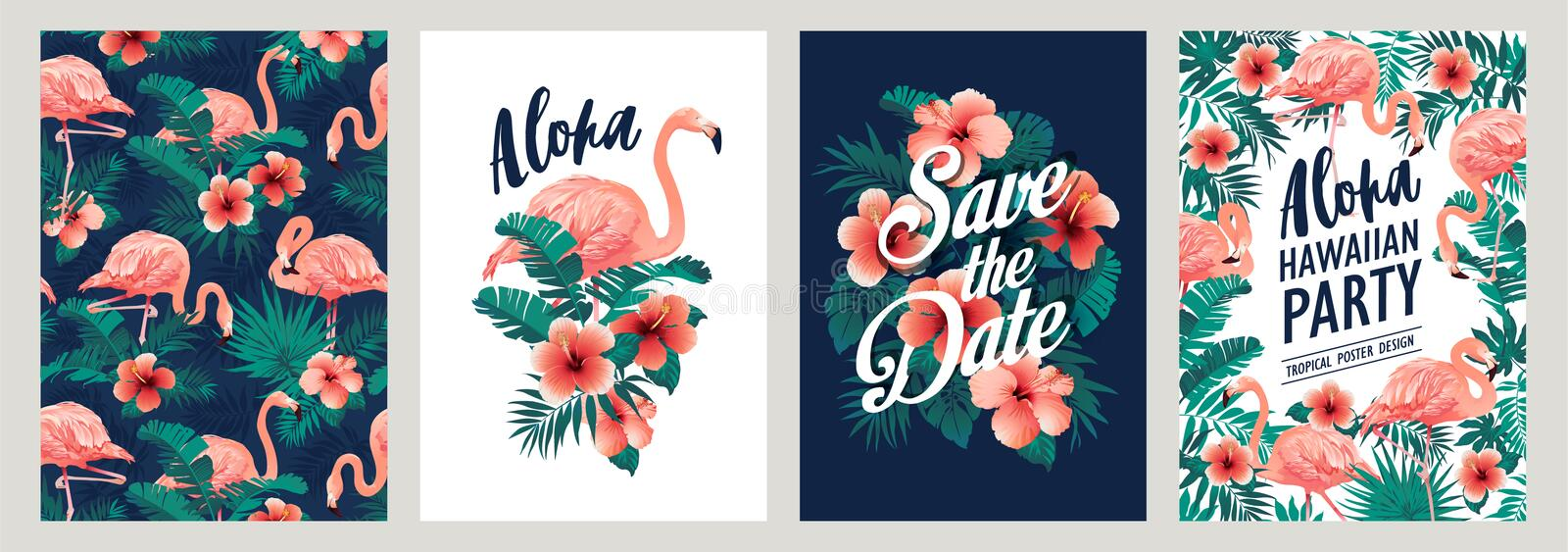 Summer tropical palm leaves with exotic flamingo and hibiscus flowers. Vector templates. Design element for card, poster, banner,. Summer tropical palm leaves stock illustration