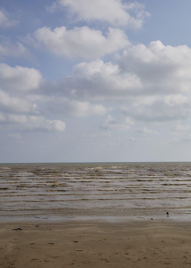 Summer tropical sea, beach. Wave and blue sky at Hat Laem Sing beach in Chanthaburi province, Thailand stock photo