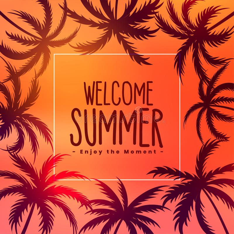 Summer tropical sunset background with palm trees. Vector vector illustration