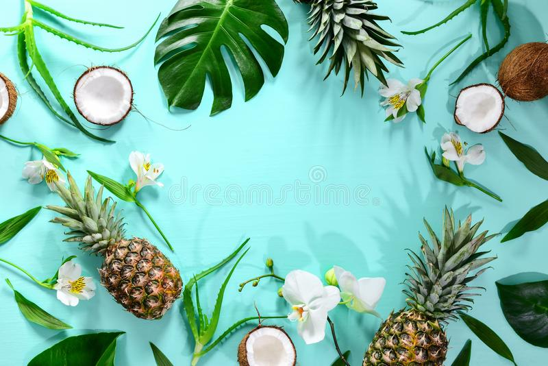 Summer tropical theme background, flat lay composition with a sp royalty free stock photography