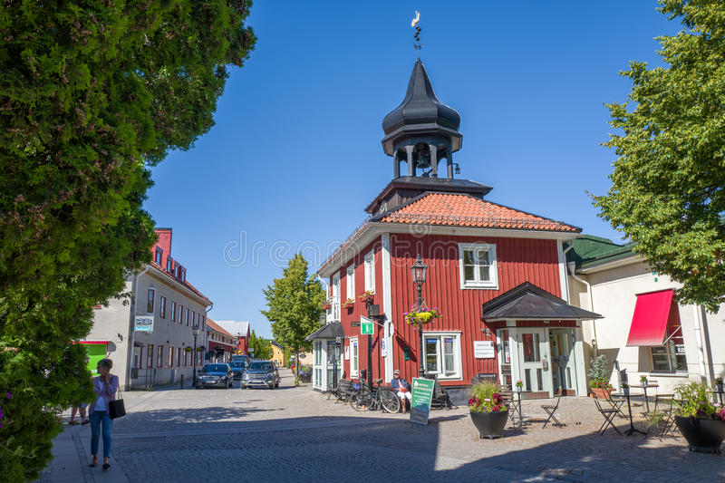 Summer in Trosa, Sweden. Trosa, Sweden – August 19, 2015: The old city hall in Trosa. Trosa is an idyllic and historic seaside town south of Stockholm and stock image