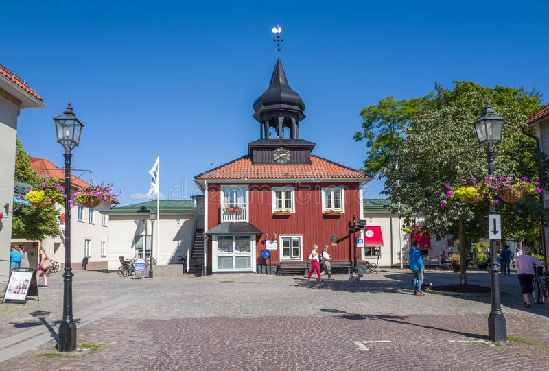 Summer in Trosa, Sweden. Trosa, Sweden – August 19, 2015: The old city hall in Trosa. Trosa is an idyllic and historic seaside town south of Stockholm and stock photos