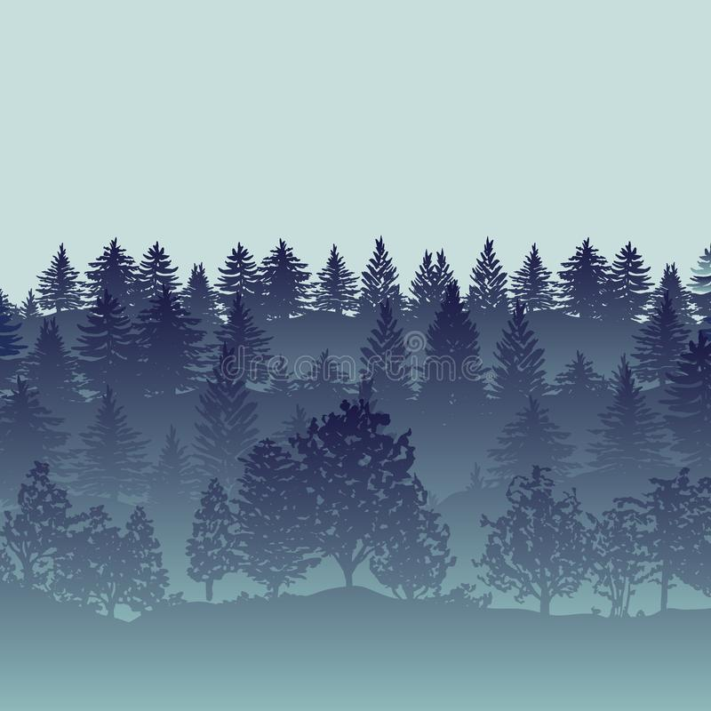 Forest trees silhouettes background royalty free illustration