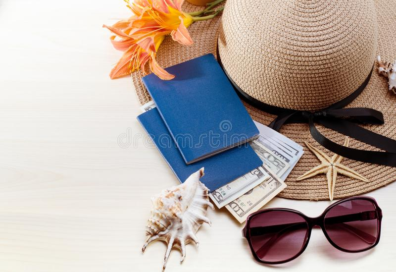 Summer Vacation accessories, documents, passports and money. Good for touristic service. Vacation accessories, documents, passports and money. Good for touristic royalty free stock photo
