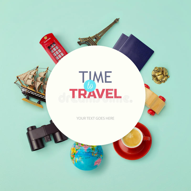 Summer vacation background mock up design. Objects related to travel and tourism around blank paper. View from above royalty free stock photos