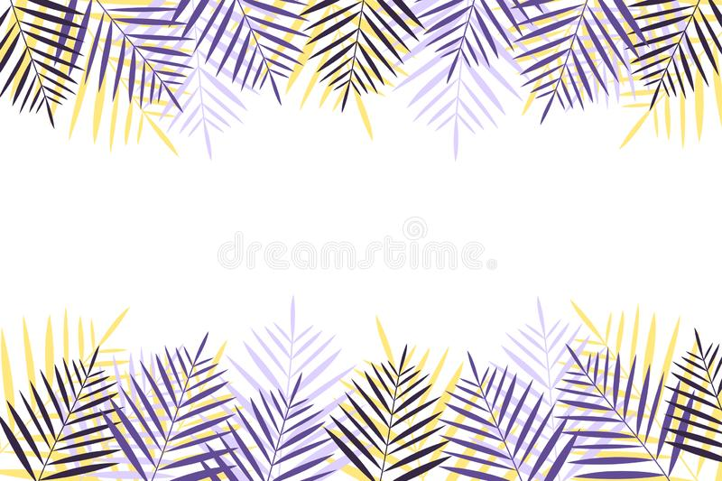 Summer vacation background with palm trees. Colorful naturalistic frame from the palm leaf. Vector royalty free illustration