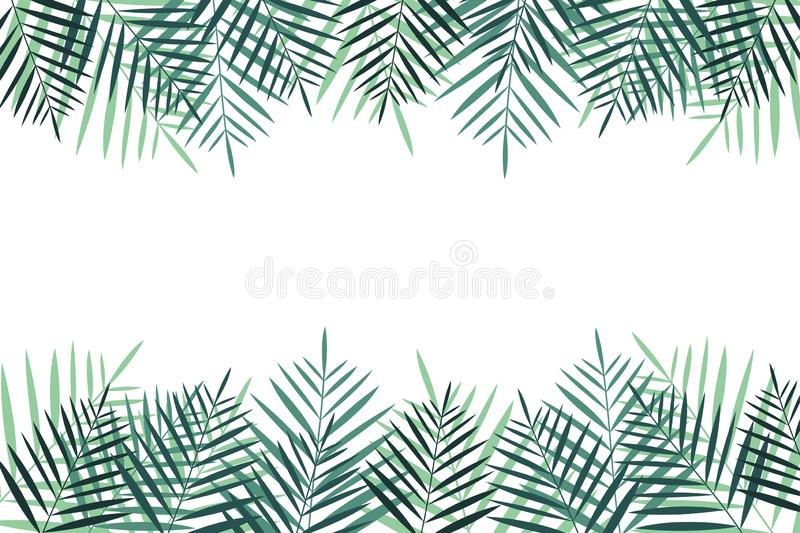 Summer vacation background with palm trees. Colorful naturalistic frame from the palm leaf. Vector vector illustration