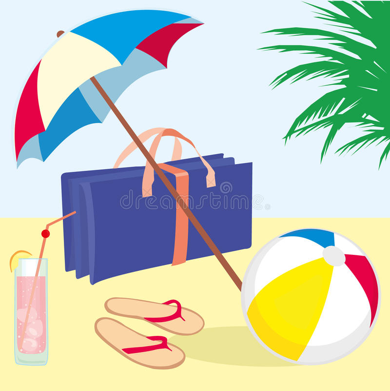 Summer_vacation_beach royalty-vrije illustratie