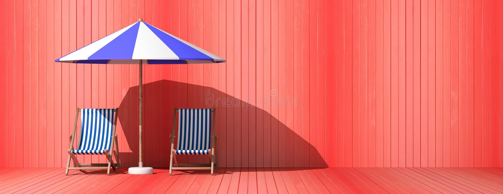 Summer vacation. Beach chairs and umbrella on wooden wall background, banner. 3d illustration. Summer vacation. Beach chairs and umbrella on red wooden wall royalty free illustration