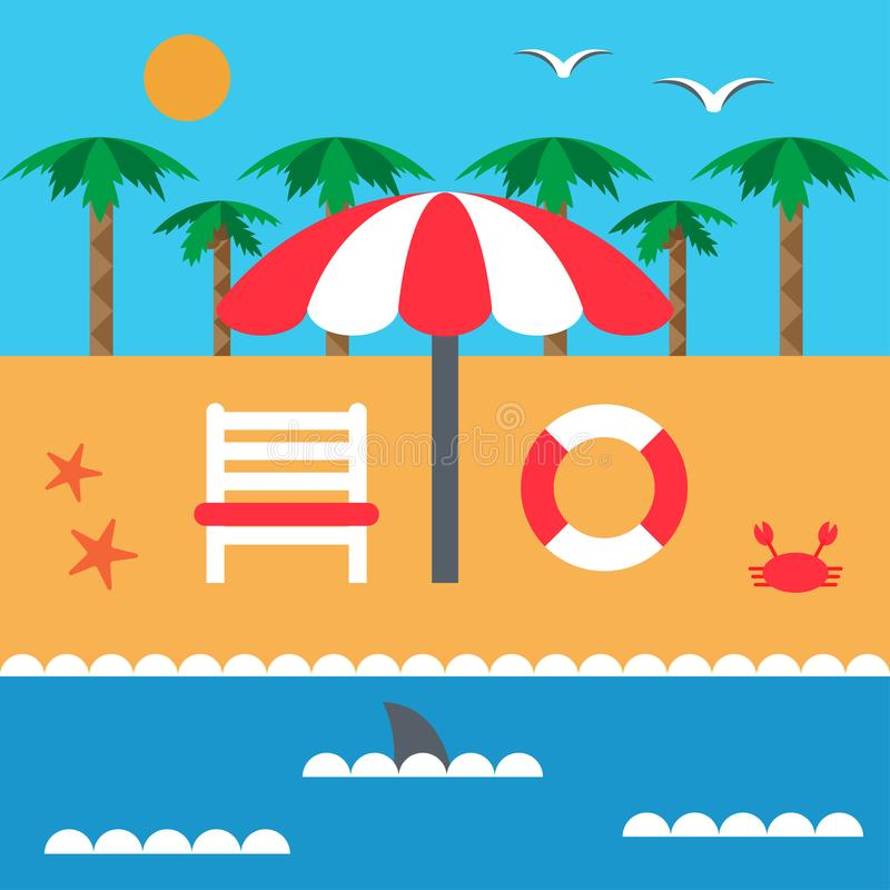 Summer vacation on the beach and the sea. Parasol and deckchair. Set of elements in flat style. Vector vector illustration