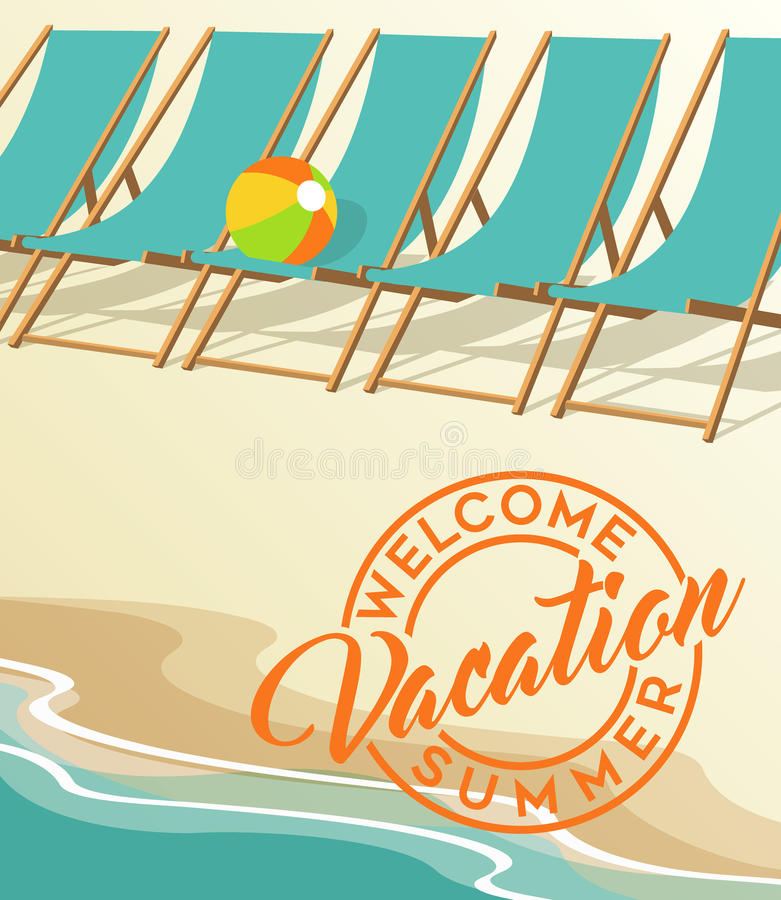 Download Summer Vacation Beach And Vintage Chairs Stock Vector