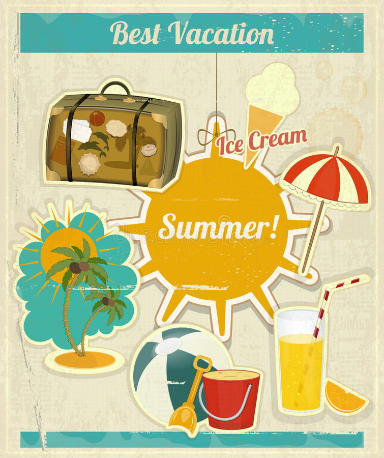 Summer Vacation Card In Vintage Retro Style Stock Vector ...