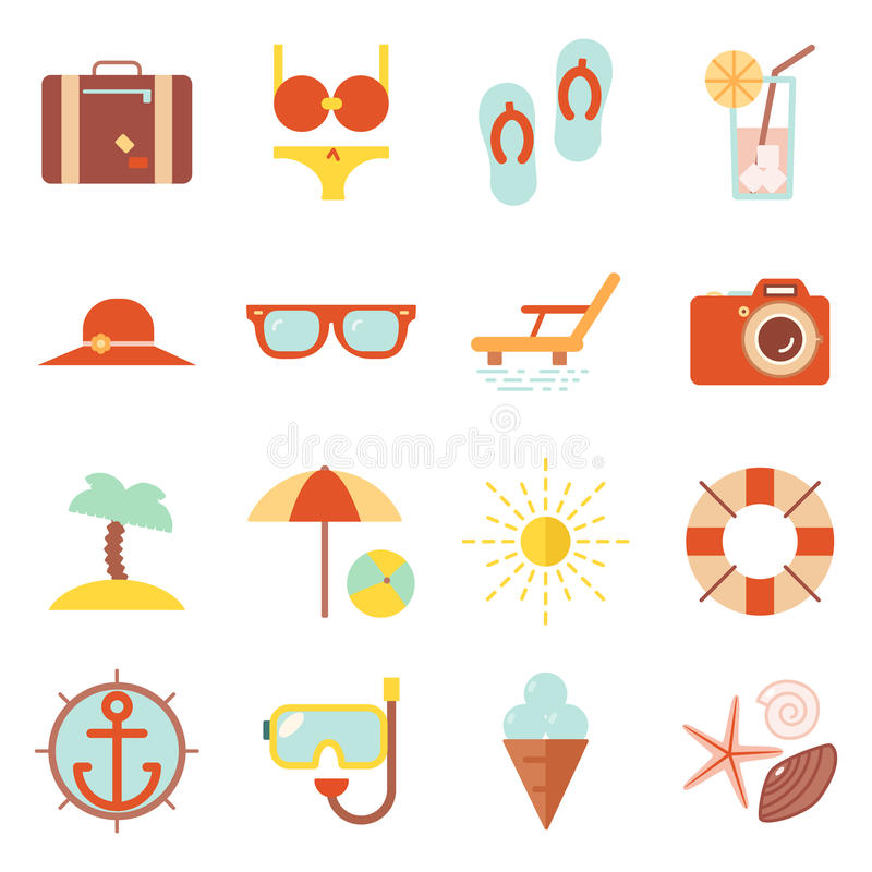 Free Summer Vacation Color Beach Resort Accessorize Vector Symbols Icon Flat Design Template Illustration Stock Photography - 72706642