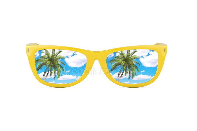 Summer Vacation Concept. Blue Skies with Palm Reflecting in Modern Yellow Sunglasses. 3d Rendering royalty free stock photography