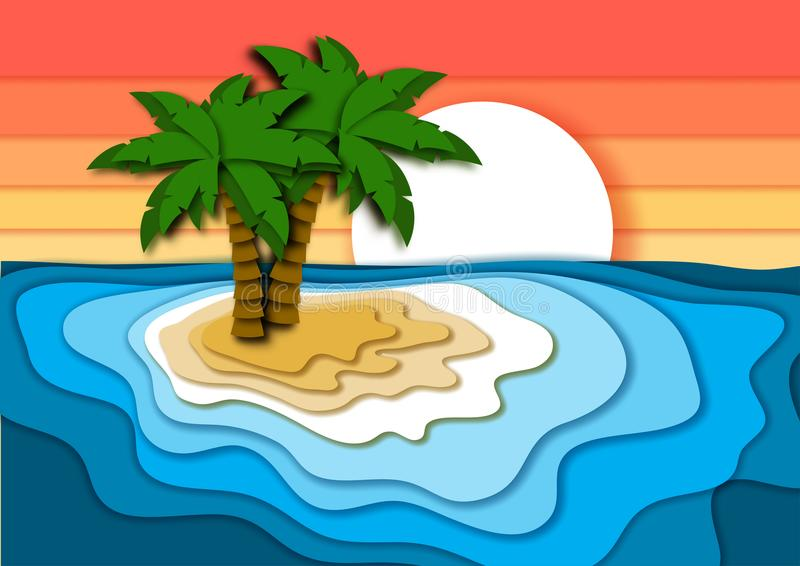 Summer vacation concept with bright tropical island, sand beach, sea or ocean waves and sunset sky. royalty free illustration