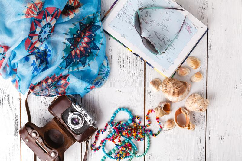 Summer vacation concept, flat lay on white table royalty free stock images