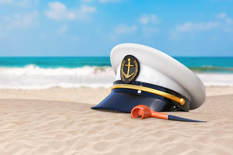 Summer Vacation Concept. Naval Officer, Admiral, Navy Ship Captain Hat with Vintage Smoking Tobacco Pipe on an Ocean Deserted stock image