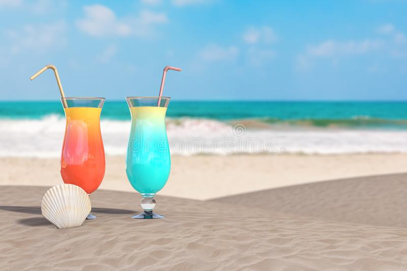 Summer Vacation Concept. Red and Blue Tropical Cocktails with Beauty Scallop Sea or Ocean Shell Seashell on an Ocean Deserted royalty free stock images
