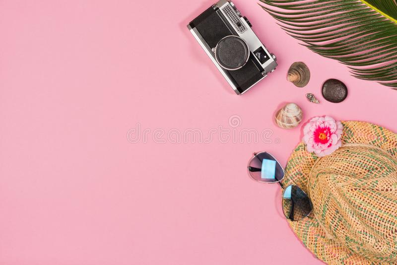 Summer vacation concept. stylish sunglasses,  retro photo camera and green palm leaves on pink background royalty free stock photography